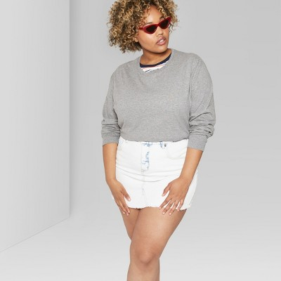 Women's Plus Size Long Sleeve Skater Boxy T Shirt   Wild Fable™ Heather Gray by Wild Fable