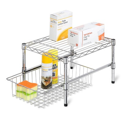 Honey-Can-Do Adjustable Shelf with Under Cabinet Organizer Silver