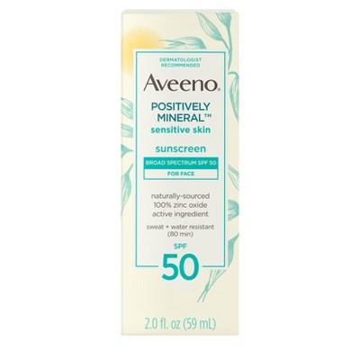 Aveeno Positively Mineral Sensitive Skin Sunscreen - SPF 50 - 2 fl oz