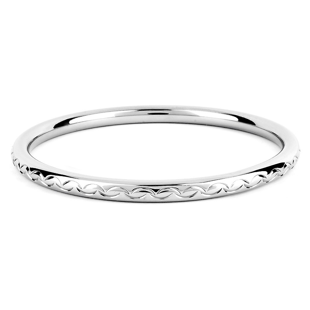 Image of ELYA Stainless Steel Scalloped Design Bangle Bracelet, Women's, Silver/Silver