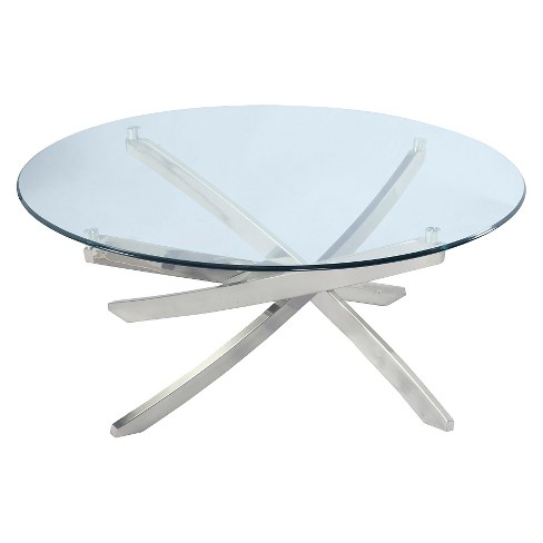 Zila Round Cocktail Table - Brushed Nickel - Magnussen Home - image 1 of 2