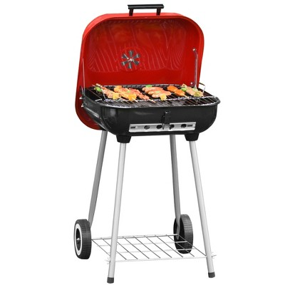 Outsunny 18'' Portable Charcoal Grill with Wheels and Bottom Shelf