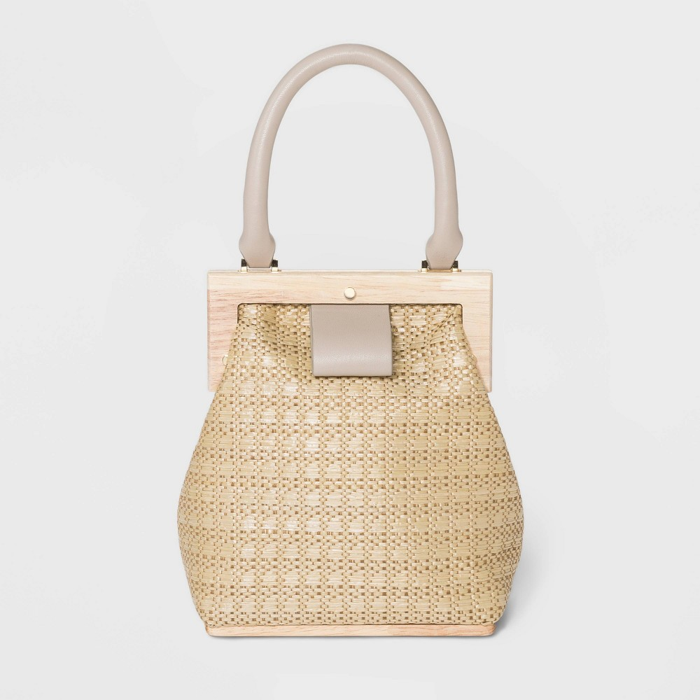 Vintage Handbags, Purses, Bags *New* Estee  Lilly Magnetic Closure Raffia Wood Frame Mini Satchel Handbag - Beige $39.99 AT vintagedancer.com