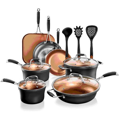 NutriChef Metallic Nonstick Ceramic Cooking Kitchen Cookware Pots and Pans with Lids, Utensils, and Cool Touch Handle Grips, 14 Piece Set, Black