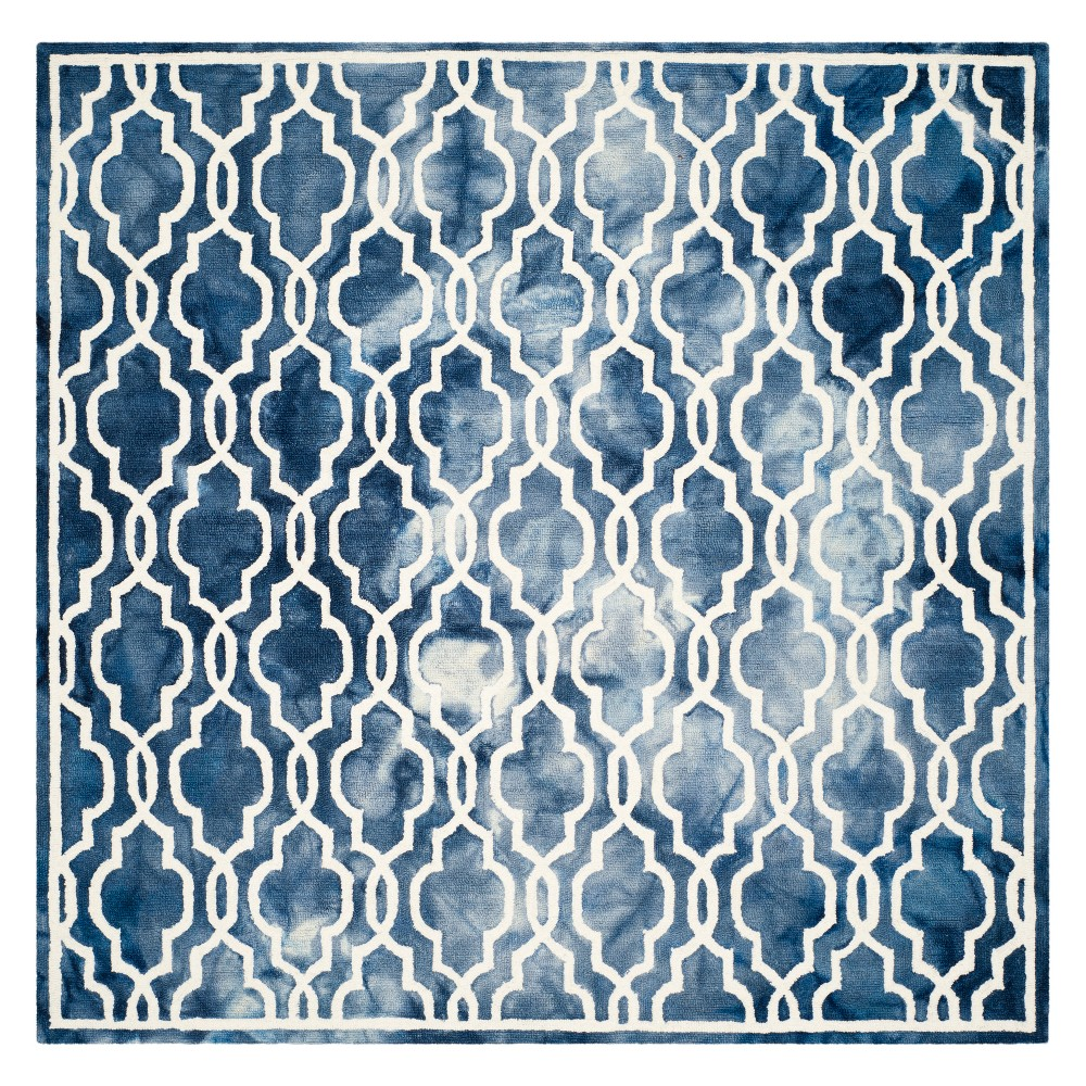 7'X7' Quatrefoil Design Square Area Rug Navy/Ivory (Blue/Ivory) - Safavieh