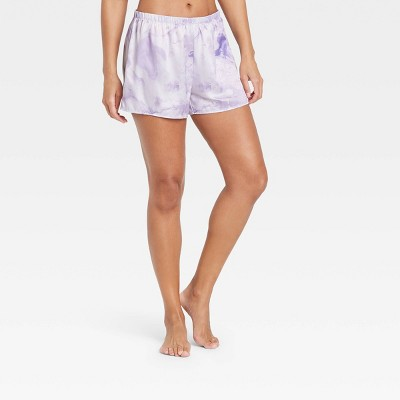 Women's Tie-Dye Satin Pajama Shorts - Stars Above™ Purple