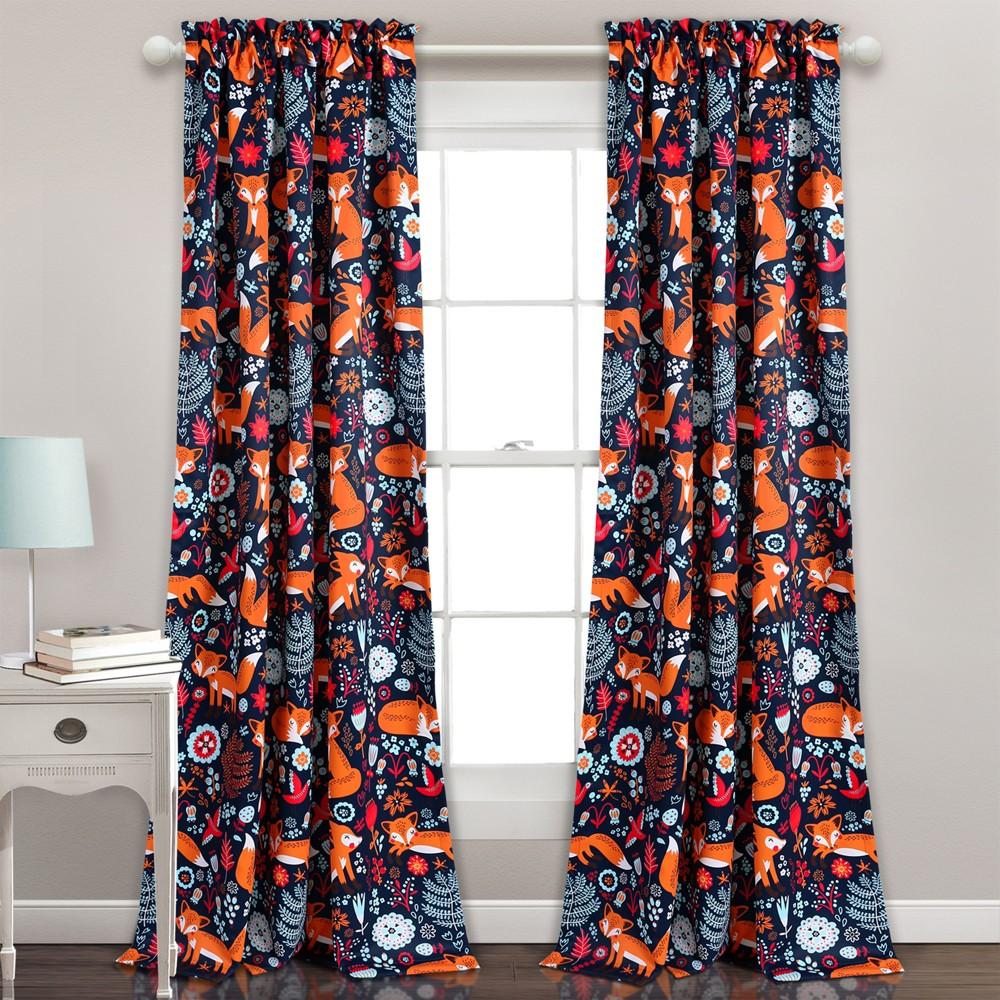 Pixie Fox Curtain Panels Navy (Blue)/Orange- Lush Decor