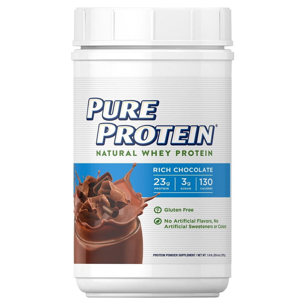 Pure Protein Natural Whey Protein Powder - Rich Chocolate - 25.6oz Delicious and convenient, Pure Protein Rich Chocolate Natural Whey Protein Powder helps you fuel your body to achieve your goals. Each serving provides gold-standard whey protein sources, including microfiltered whey protein isolate and ultrafiltered whey protein concentrate. Gender: Unisex. Age Group: Adult.