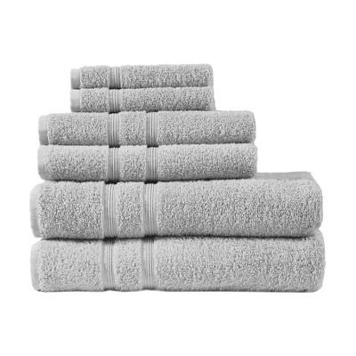 6pc Aegean 100% Turkish Cotton Bath Towel Set Gray
