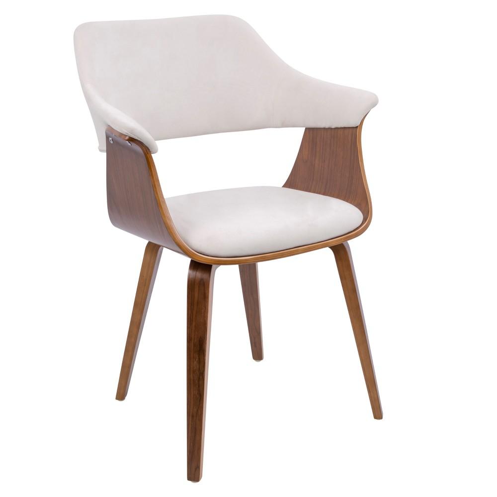 Lucci Mid Century Modern Chair Walnut/Cream (Ivory) Velvet - Lumisource