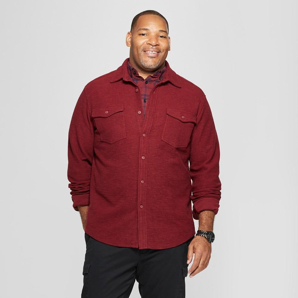 Men's Big & Tall Long Sleeve Knit Utility Button-Down Shirt - Goodfellow & Co Black Raspberry 2XB