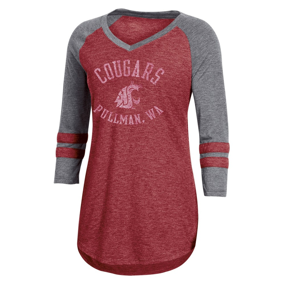 NCAA Women's 3/4 Sleeve V-Neck T-Shirt Washington State Cougars - S, Multicolored