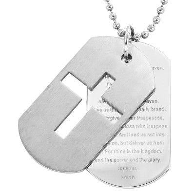 Men's Stainless Steel Cross and 'Lord's Prayer' Double Dog Tag Necklace