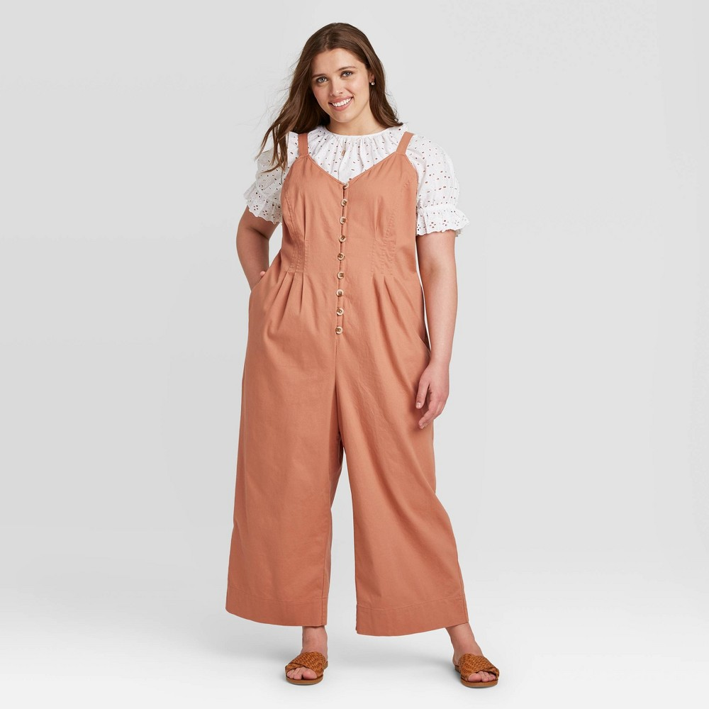 Women's Plus Size Sleeveless Button-Front Jumpsuit - Universal Thread Brown 26W was $29.99 now $20.99 (30.0% off)