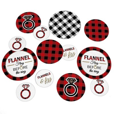 Big Dot of Happiness Flannel Fling Before the Ring - Buffalo Plaid Party Giant Circle Confetti - Bachelorette Party Décor - Large Confetti 27 Count