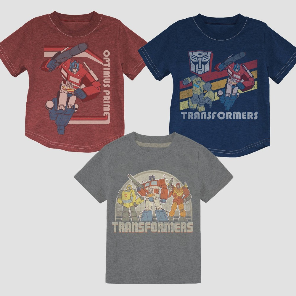 Toddler Boys' 3pk Transformers Short Sleeve T-Shirt - 2T, Multicolored