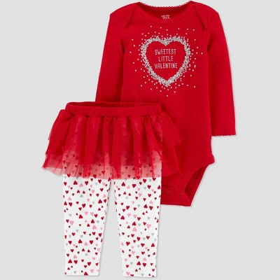 Baby Girls' Sweetest Girl Tutu Bodysuit Set - Just One You® made by carter's Red Newborn