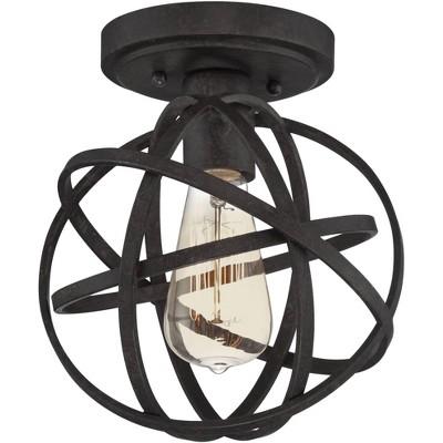 "Franklin Iron Works Rustic Industrial Ceiling Light Semi Flush Mount Fixture LED Edison Atomic Black 8"" Wide for Bedroom Kitchen"