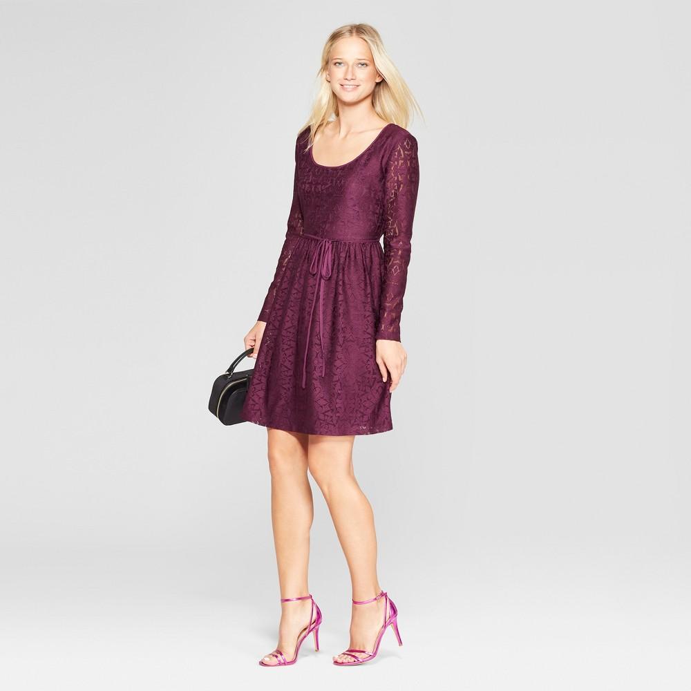 Women's Long Sleeve Scoop Neck Tie Back Lace Dress - Xhilaration Purple XS