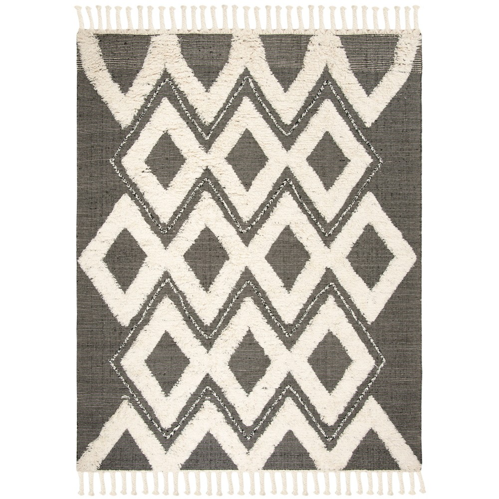 9'X12' Geometric Knotted Area Rug Black/Ivory - Safavieh