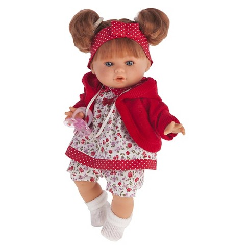 "Antonio Juan Dato 12"" Baby Girl Doll With Red Floral Dress - image 1 of 1"