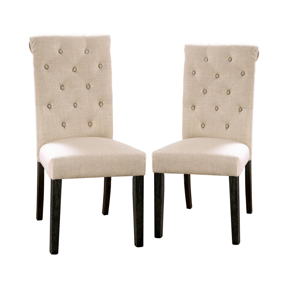 Image of 2pc Hepburn Scroll Back Side Chairs Black/Ivory - ioHOMES