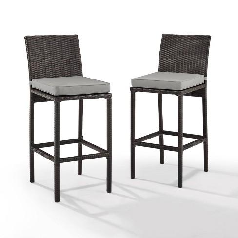 Amazing Palm Harbor 2Pk Deluxe Wicker Bar Stool Brown Gray Crosley Machost Co Dining Chair Design Ideas Machostcouk