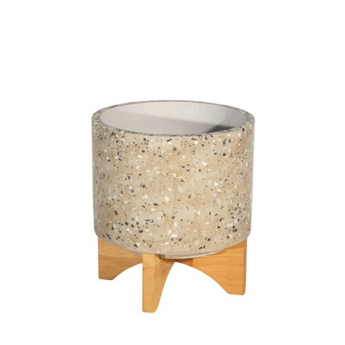 "9.25"" Terrazzo Planter on Stand Light Gray - Sagebrook Home - image 1 of 3"