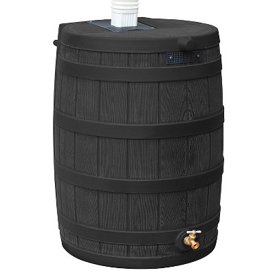 Good Ideas Rain Wizard 50 Gallon Plastic Rain Barrel Water Collector, Black