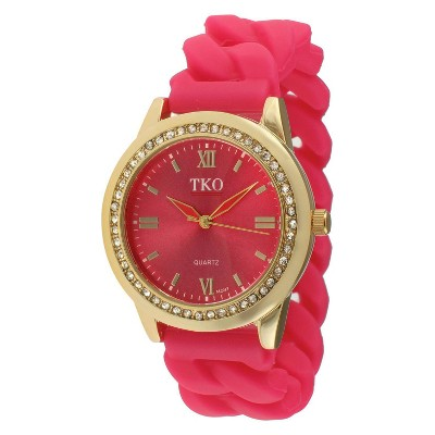 Women's TKO Rubber Chain Crystal Bezel Watch