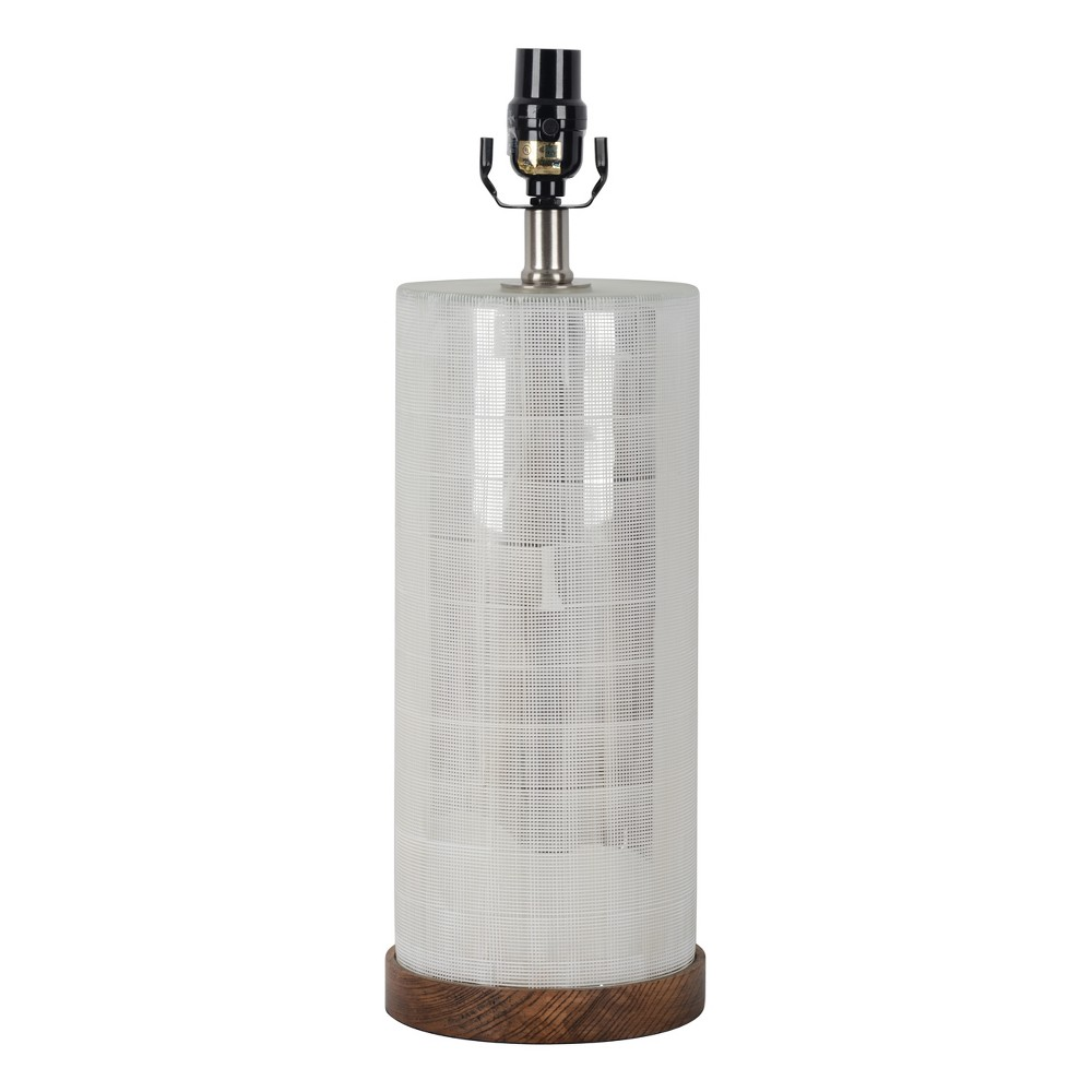 Large Light Mercury Cut Glass Wood Table Lamp Base Wood/Silver (Includes Energy Efficient Bulb) - Threshold