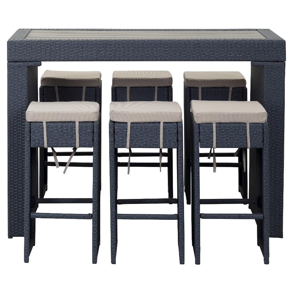 Sanders 7pc Wicker Outdoor Bar Set - Steel Blue - Safavieh