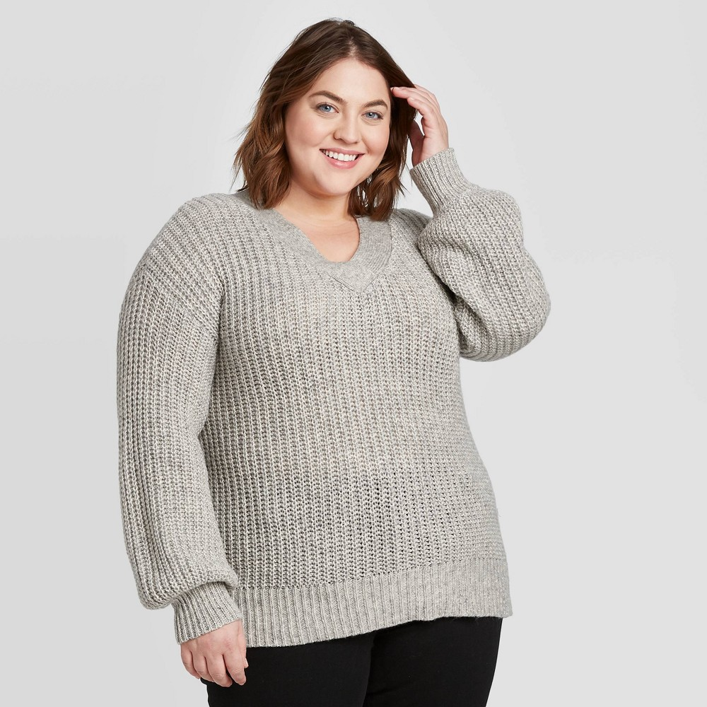 Women's Plus Size V-Neck Pullover Sweater - Ava & Viv Light Gray 1X, Women's, Size: 1XL was $27.99 now $19.59 (30.0% off)