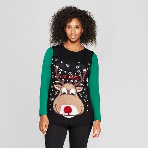 Maternity Oh Deer Sweater Ugly Christmas Sweater Black Target