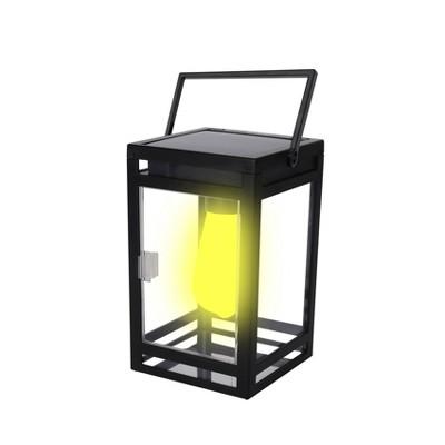 """7.87"""" Solar Portable Outdoor Lantern Amber/White - Techko Maid"""