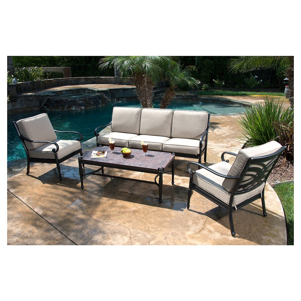 Image of Kent 4-Piece Metal Patio Conversation Furniture Set