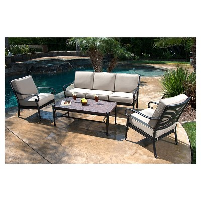 Kent 4 Piece Metal Patio Conversation Furniture Set