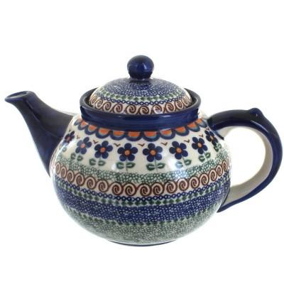 Blue Rose Polish Pottery Aztec Flower Teapot
