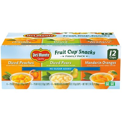 Del Monte Diced Peaches Diced Pears & Mandarin Oranges Fruit Cups - 4oz/12ct