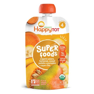 HappyTot Super Foods Organic Pears Bananas Sweet Potato & Pumpkin with Super Chia Baby Food Pouch - 4.22oz