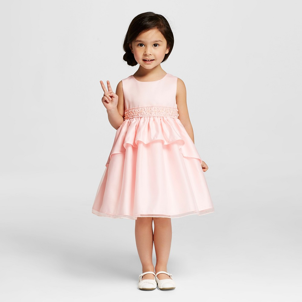 Katie M. Toddler Girl Classic Layered Dress with Beaded Waistband Pink - 3T
