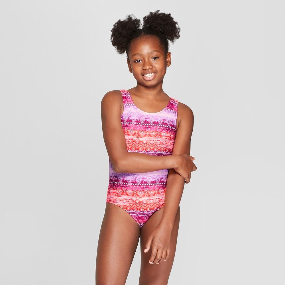 Girls' Boho Sunset One Piece Swimsuit - art class Orange/Purple L