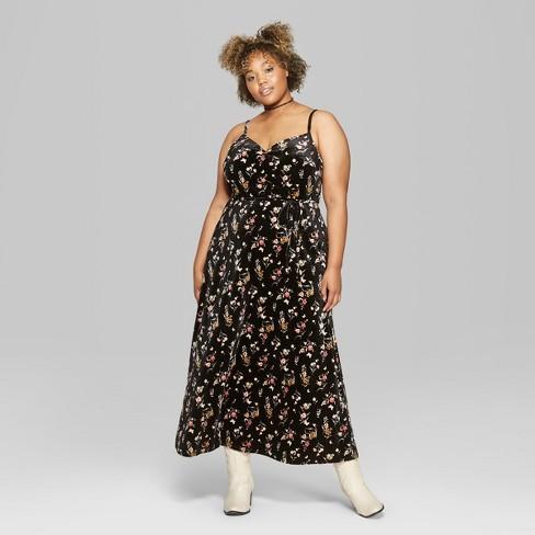 Womens Plus Size Floral Print Strappy Wrap Velvet Maxi Dress Wild
