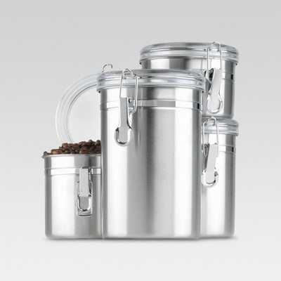 Stainless Steel 4pc Canister Set with Lid Silver - Threshold™
