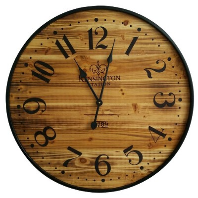 "26"" Wood Wall Clock Pine Finish Black - Threshold™"