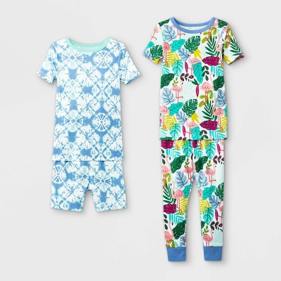 Toddler Girls' 4pc Tropical Tie-Dye Pajama Set - Cat & Jack™ Blue