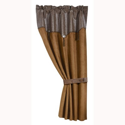 Saverio Abienen Embossed Leather Dark Tan Curtain With Leather Tie Back Matching Bottom - 48 x 84, Brown