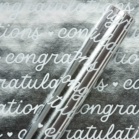 Congratulations Wedding Wrapping Paper White/Silver - Spritz™ - image 1 of 3