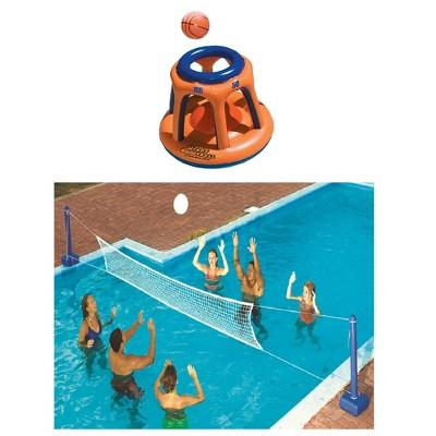 Swimline Giant Shootball Inflatable Pool Toy w/Swimline Pool Volleyball Game