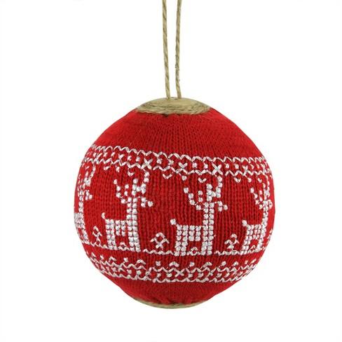 Gallerie Ii 4 Deer Nordic Design Christmas Ball Ornament Red White Target